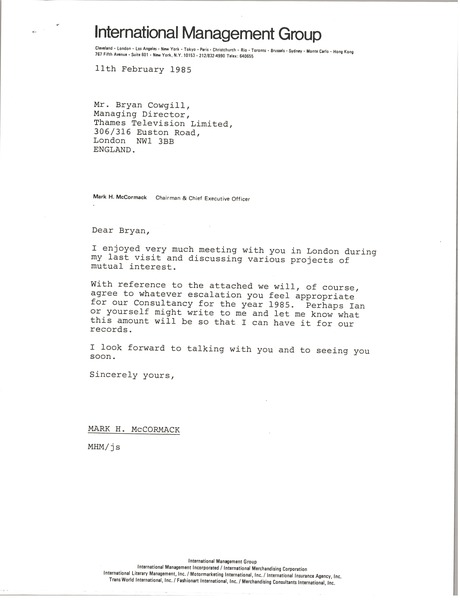 Letter from Mark H. McCormack to Bryan Cowgill, February 11, 1985