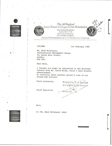 Letter from the All England Club to Mark H. McCormack, February 1, 1985