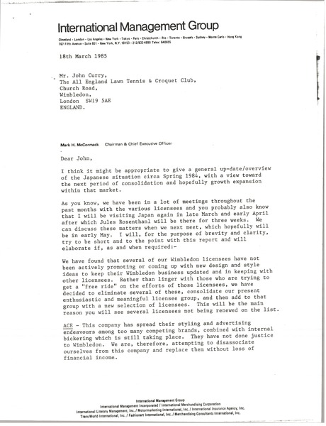 Letter from Mark H. McCormack to John Curry, March 18, 1985
