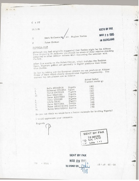 Fax from Peter German to Mark H. McCormack, March 29, 1985