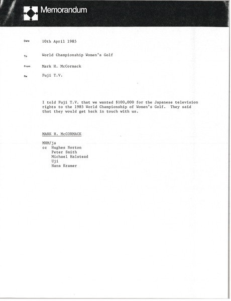Memorandum from Mark H. McCormack to World Championship of Women's Golf file, April 10, 1985