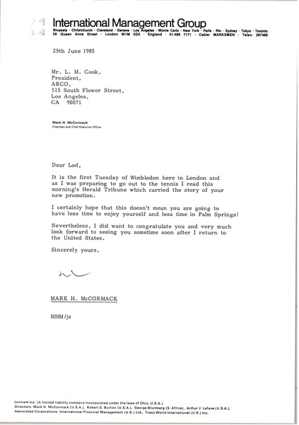 Letter from Mark H. McCormack to L. M. Cook, June 25, 1985