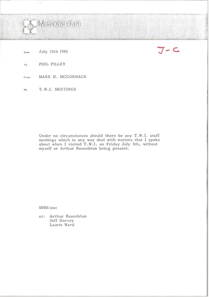 Memorandum from Mark H. McCormack to Phil Pilley, July 15, 1985