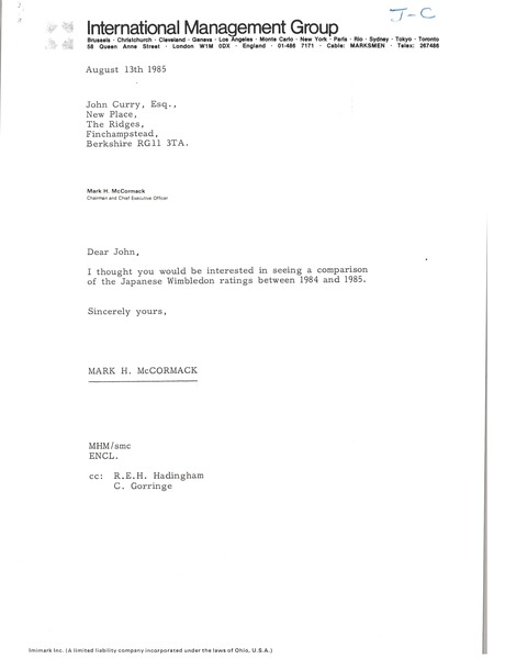 Letter from Mark H. McCormack to John Curry, August 13, 1985