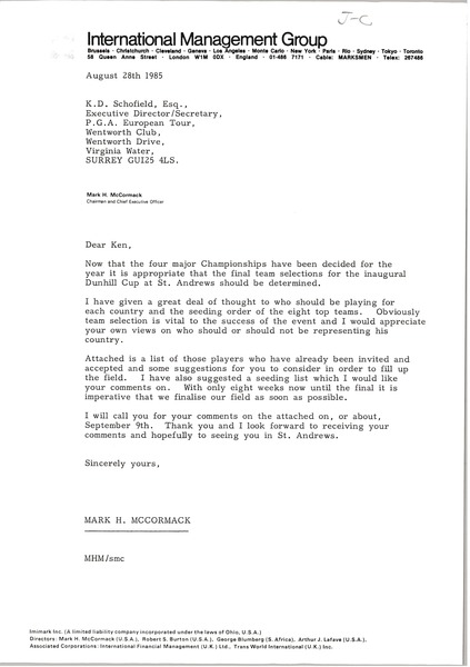 Letter from Mark H. McCormack to K. D. Schofield, August 28, 1985
