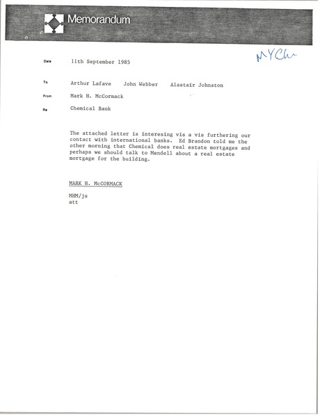 Memorandum from Mark H. McCormack to Arthur Lafave, September 11, 1985