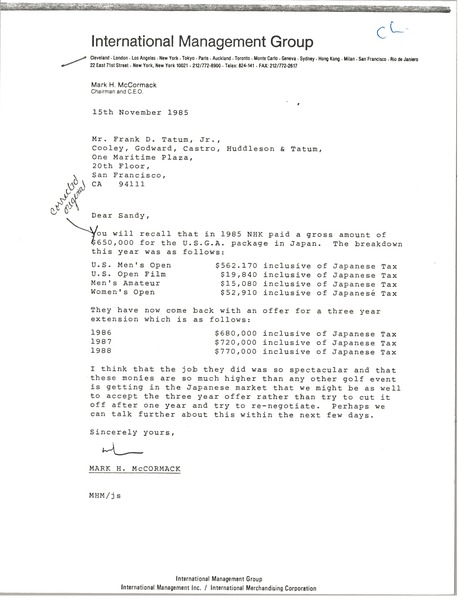 Letter from Mark H. McCormack to Frank D. Tatum Jr., November 15, 1985