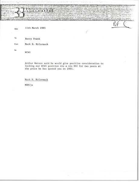 Memorandum from Mark H. McCormack to Barry Frank, November 15, 1985