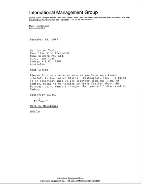 Letter from Mark H. McCormack to Lynton Taylor, December 18, 1985