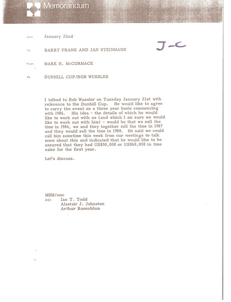 Memorandum from Mark H. McCormack to Barry Frank and Jan Steinmann, January 22, 1986