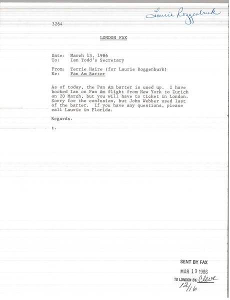 Fax from Terrie Haire to Ian Todd's secretary, March 13, 1986