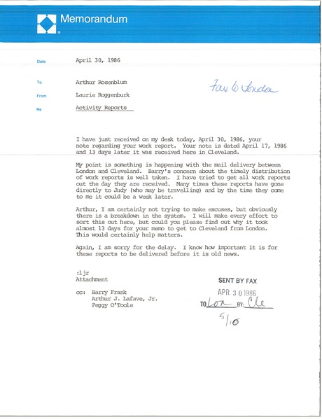 Memorandum from Laurie Roggenburk to Arthur Rosenblum, April 30, 1986