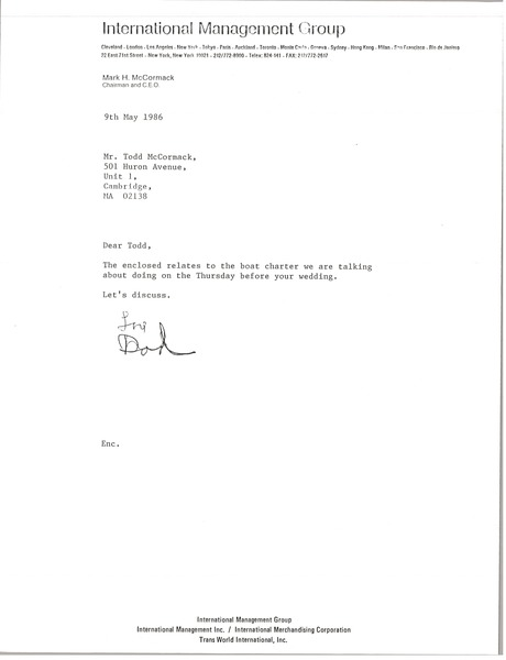 Letter from Mark H. McCormack to Todd McCormack, May 9, 1986