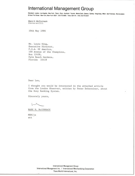 Letter from Mark H. McCormack to Louis King, May 10, 1986