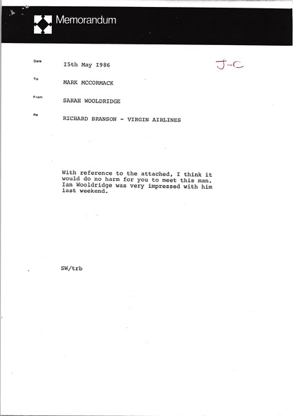 Memorandum from Sarah Wooldridge to Mark H. McCormack, May 15, 1986