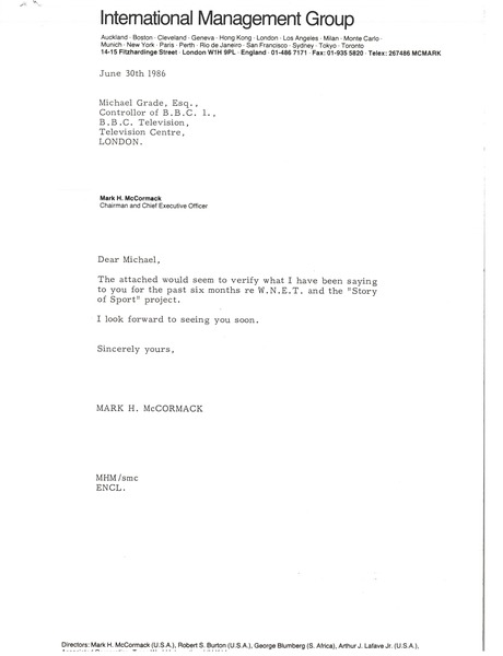 Letter from Mark H. McCormack to Michael Grade, June 30, 1986