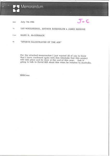 Memorandum from Mark H. McCormack to Ian Wooldridge, July 3, 1986