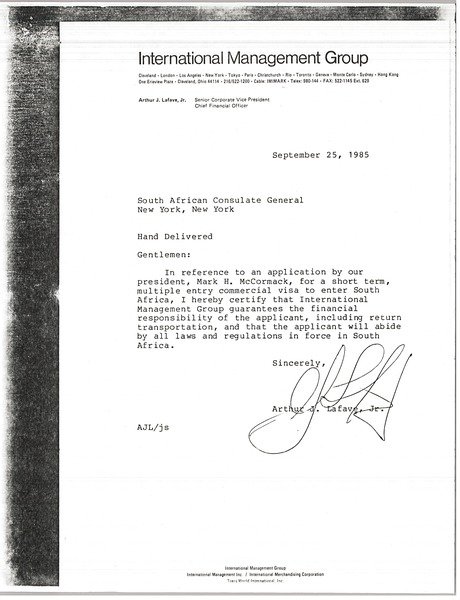 Letter from Arthur J. Lafave to South African Consulate General, September 25, 1985