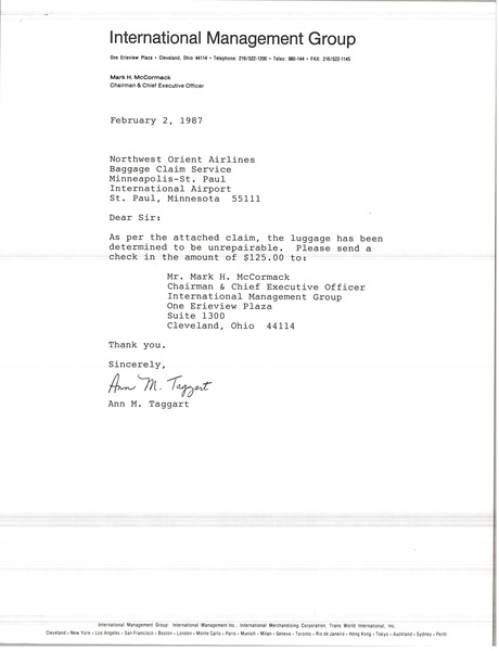 Letter from Ann M. Taggart to Northwest Orient Airlines, February 2, 1987