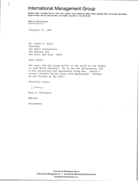 Letter from Mark H. McCormack to Frank A. Olson, February 21, 1987