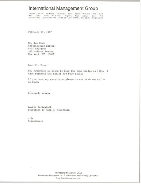 Letter from Laurie Roggenburk to Tom Doak, February 27, 1987