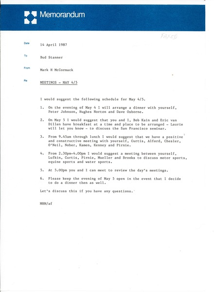 Memorandum from Mark H. McCormack to Bud Stanner, April 14, 1987