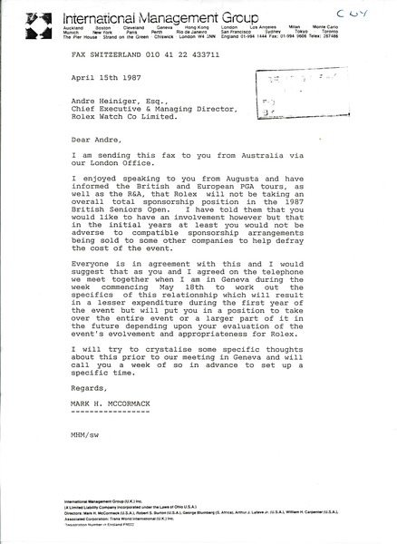 Fax from Mark H. McCormack to Andre Heiniger, April 15, 1987