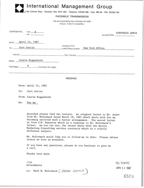 Fax from Laurie Roggenburk to Curt Curtis, April 15, 1987