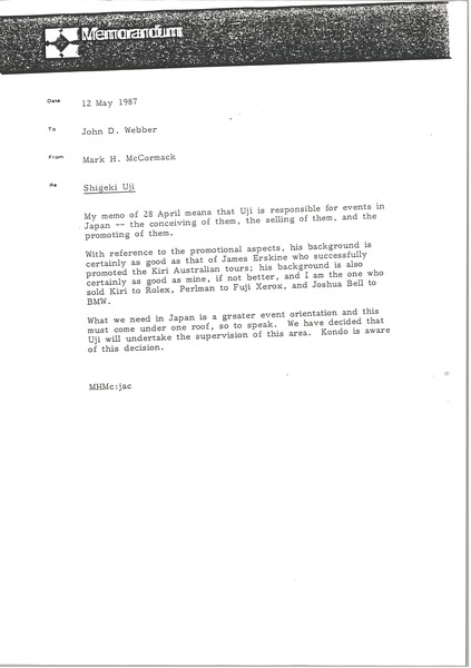 Fax from Mark H. McCormack to John D. Webber, May 12, 1987