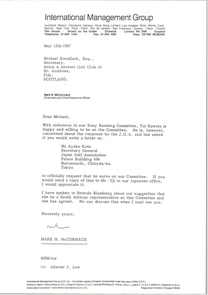 Letter from Mark H. McCormack to Michael Bonallack, May 12, 1987