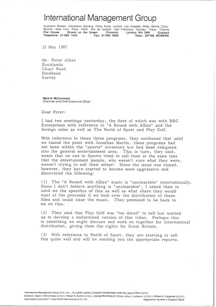 Letter from Mark H. McCormack to Peter Alliss, May 12, 1987