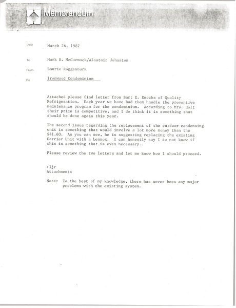 Memorandum from Laurie Roggenburk to Mark H. McCormack and Alastair Johnston, March 26, 1987