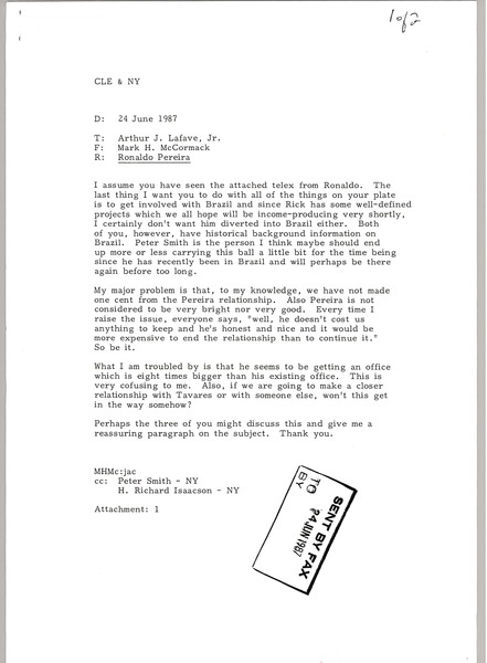 Fax from Mark H. McCormack to Arthur J. Lafave, Jr., June 24, 1987