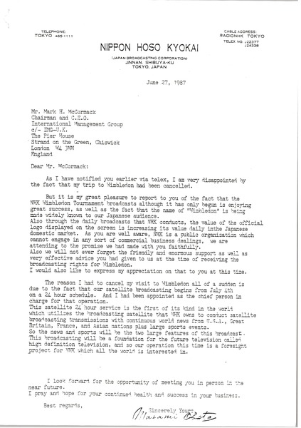 Letter from Masami Obata to Mark H. McCormack, June 27, 1987