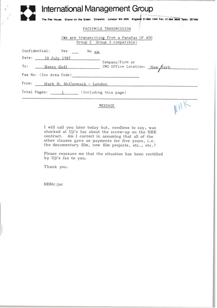 Fax from Mark H. McCormack to Betsy Goff, July 10, 1987