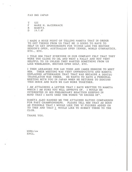 Fax from Mark H. McCormack to Uji, July 19, 1987