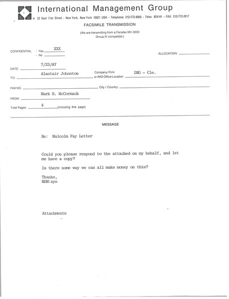 Fax from Mark H. McCormack to Alastair Johnston, July 23, 1987