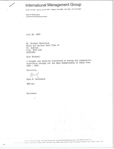 Letter from Mark H. McCormack to Michael Bonallack, July 29, 1987
