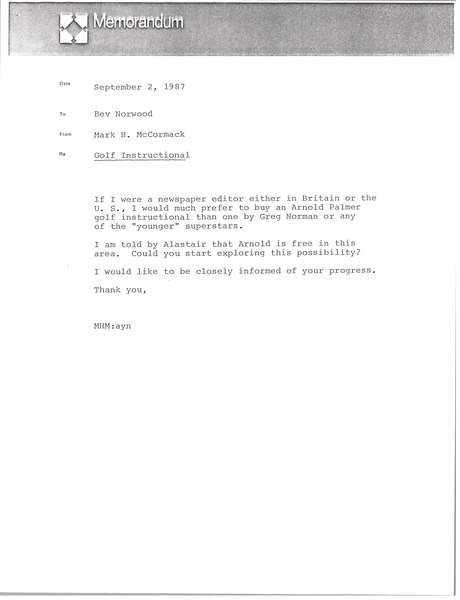 Memorandum from Mark H. McCormack to Bev Norwood, September 2, 1987