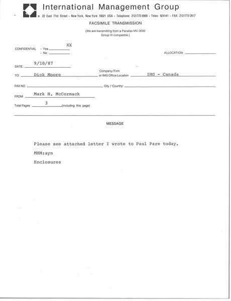 Fax from Mark H. McCormack to Dick Moore, September 9, 1987