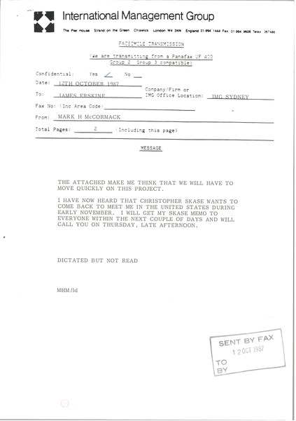 Fax from Mark H. McCormack to James Erskine, October 12, 1987