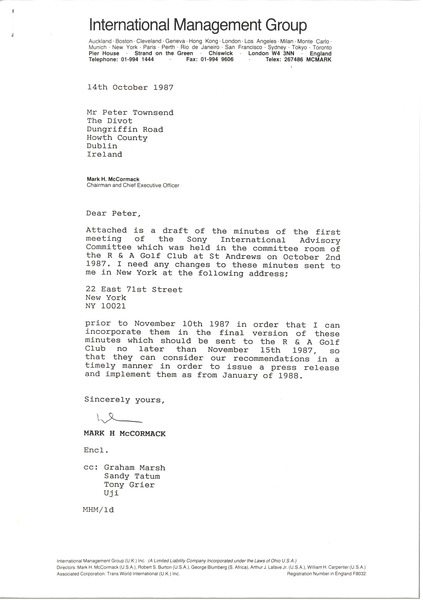 Letter from Mark H. McCormack to Peter Townsend, October 14, 1987