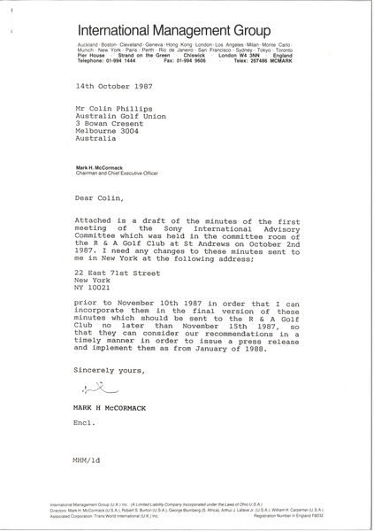 Letter from Mark H. McCormack to Colin Phillips, October 14, 1987