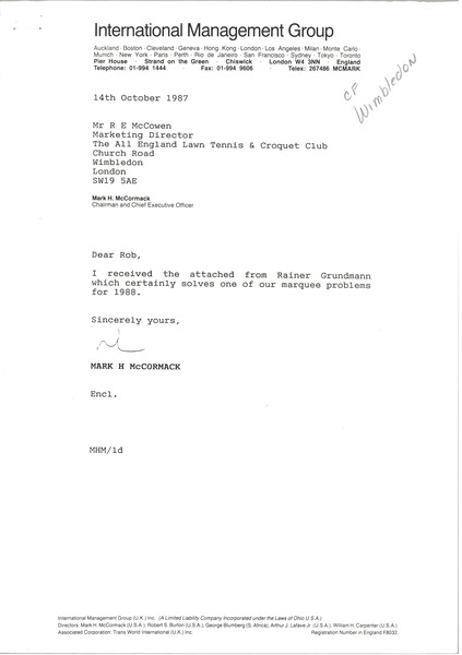 Letter from Mark H. McCormack to R. E. McCowen, October 14, 1987