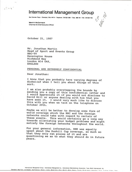 Letter from Mark H. McCormack to Jonathan Martin, October 21, 1987