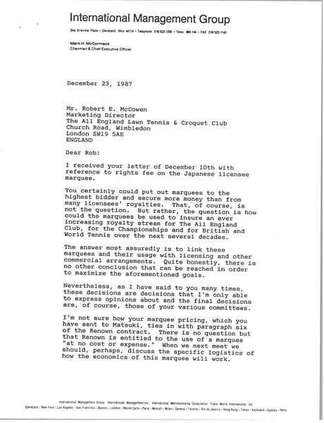 Fax from Mark H. McCormack to Robert E. McCowen, December 23, 1987