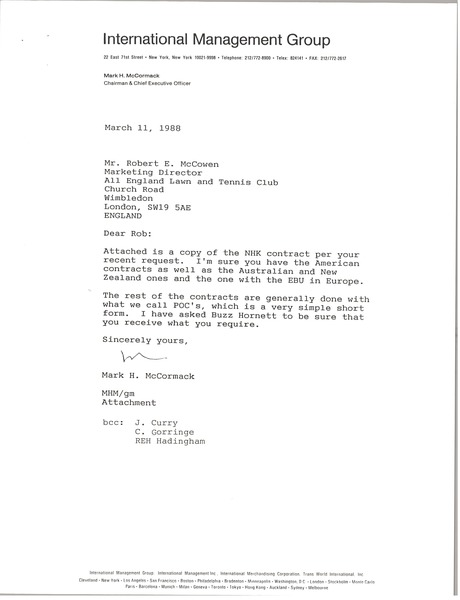 Letter from Mark H. McCormack to Robert E. McCowen, March 11, 1988