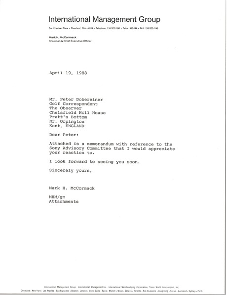 Letter from Mark H. McCormack to Peter Dobereiner, April 19, 1988