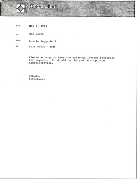 Memorandum from Laurie Roggenburk to Ray Yoder, May 4, 1988