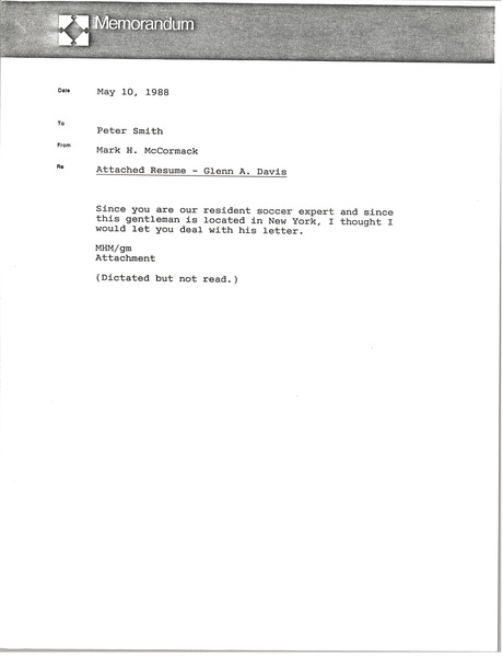Memorandum from Mark H. McCormack to Peter Smith, May 10, 1988